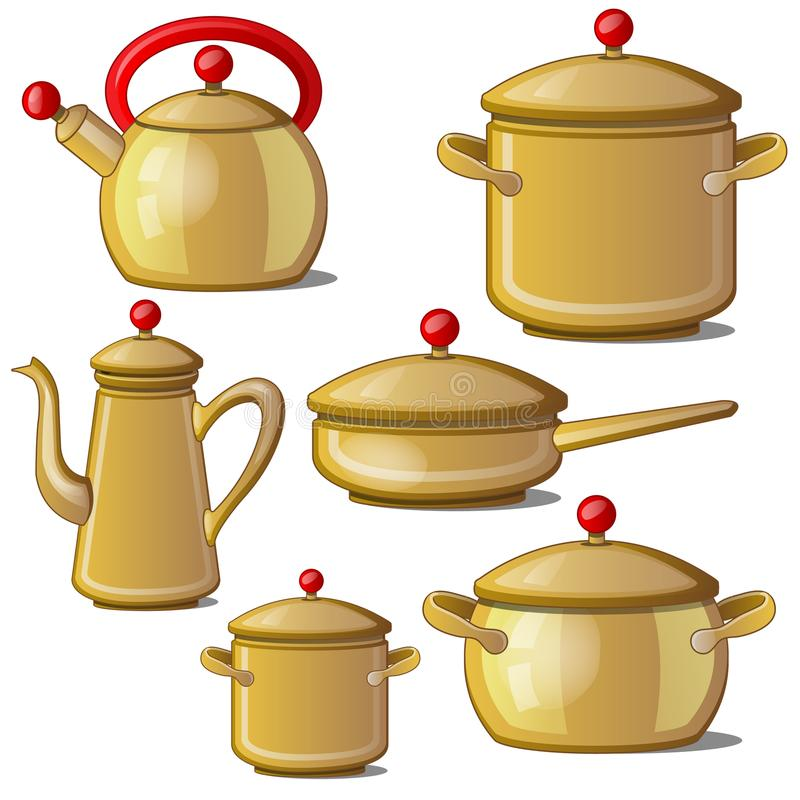 Collection of kettle, pan, cups and a jug. Vector royalty free illustration
