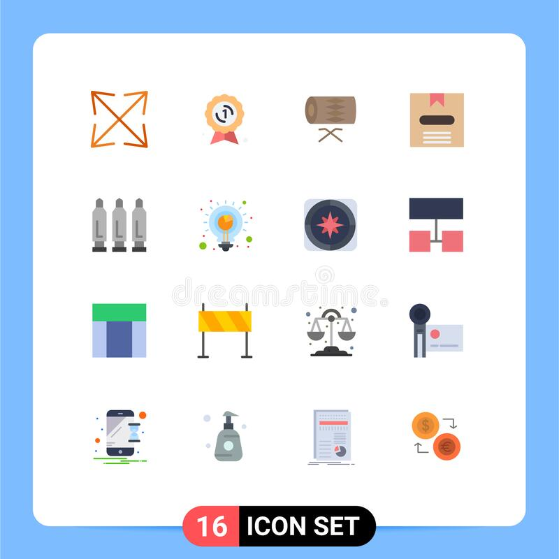 Modern Set of 16 Flat Colors and symbols such as gun, hide, instrument, e, box. Mobile Interface Flat Color Set of 16 Pictograms of gun, hide, instrument, e, box stock illustration
