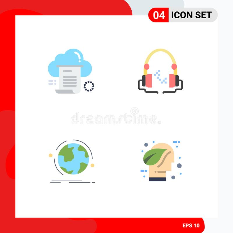 Modern Set of 4 Flat Icons Pictograph of file, globe, cloud, music, discover. 4 Flat Icon concept for Websites Mobile and Apps file, globe, cloud, music vector illustration