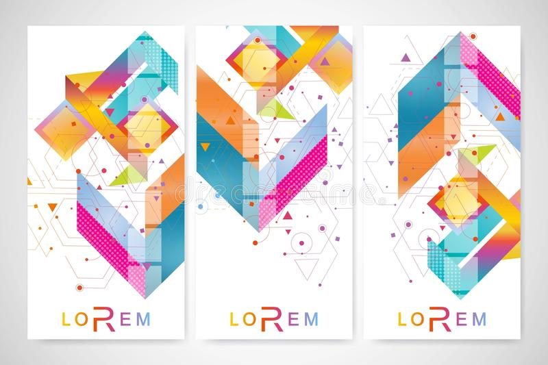 Modern set of vector flyers, banners. Geometric abstract presentation. Molecule and communication background for vector illustration