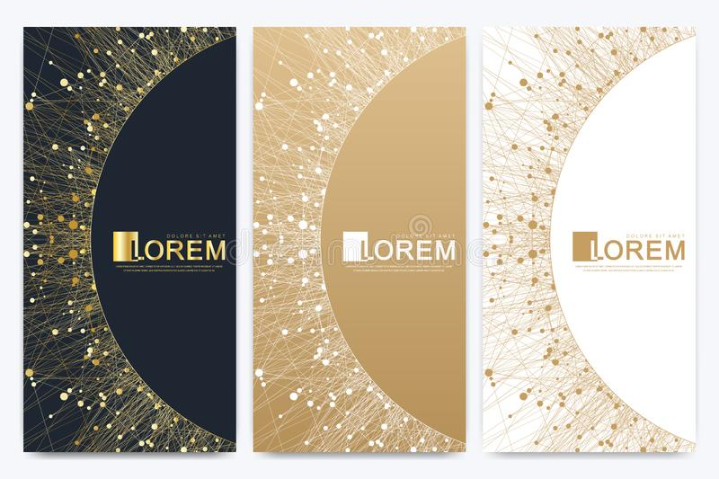 Modern set of vector flyers. Geometric abstract presentation with golden mandala. Molecule and communication background. For medicine, science, technology vector illustration