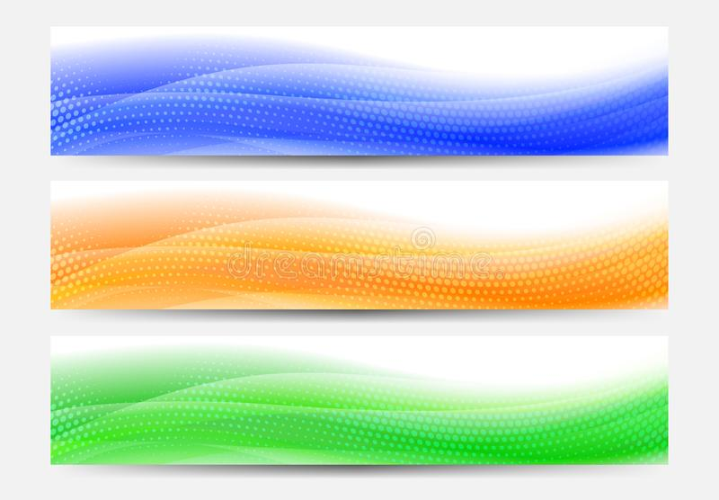 A modern set of vector Web Banner Header with Flowing Abstract B stock illustration