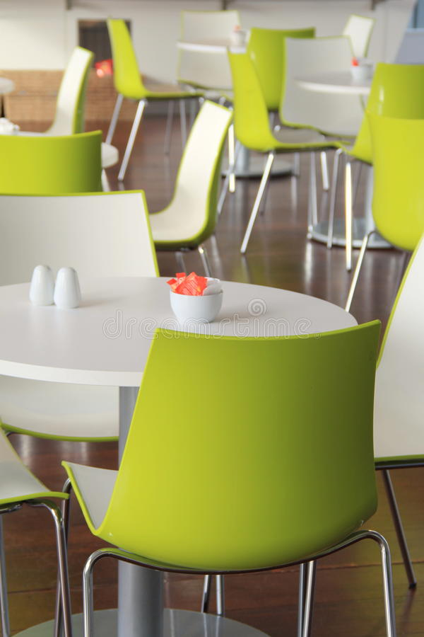 Download Modern Setting Of Bright Green Chairs And Tables At Restaurant  Stock Image   Image Of