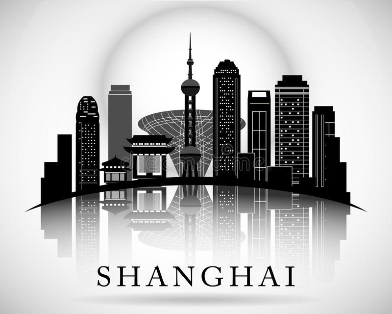 Modern Shanghai city skyline design. China royalty free illustration