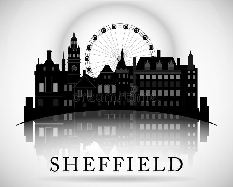 Modern Sheffield City Skyline Design. England. Modern Sheffield City Skyline Design stock illustration