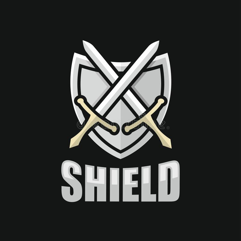 Modern shield and sword logo. This vector is scaled to large sizes vector illustration