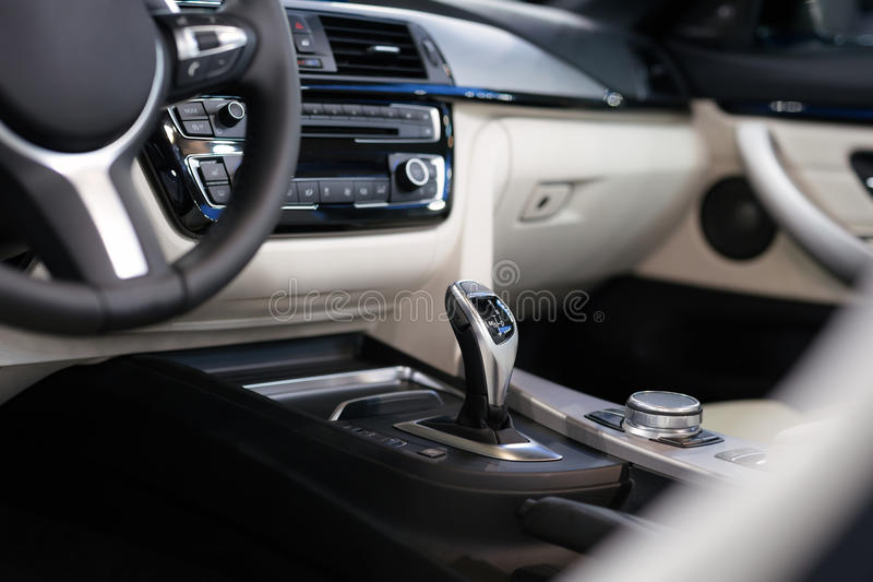 Modern shift gear in luxury car interior. Picture stock image