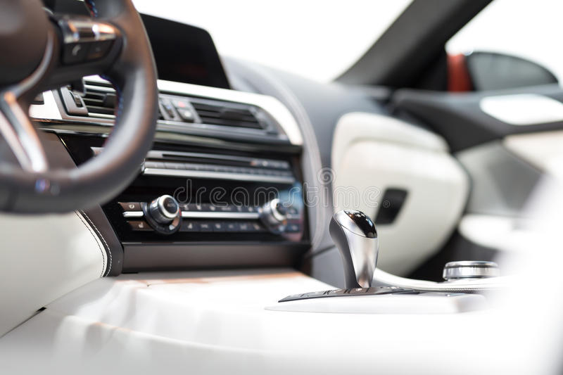 Modern shift gear in luxury car interior royalty free stock image