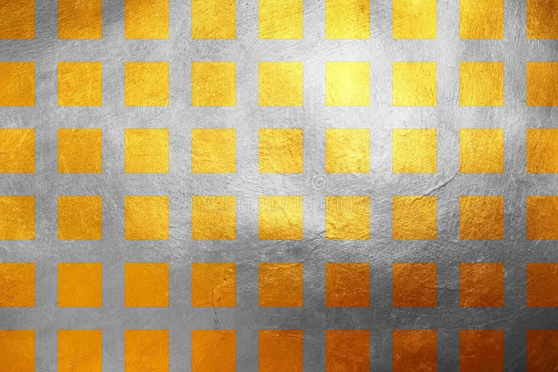 Modern shining golden and silver unique dynamic digital texture pattern. Abstract background / Design element. Shiny golden and silver square / cube grid pattern stock photography