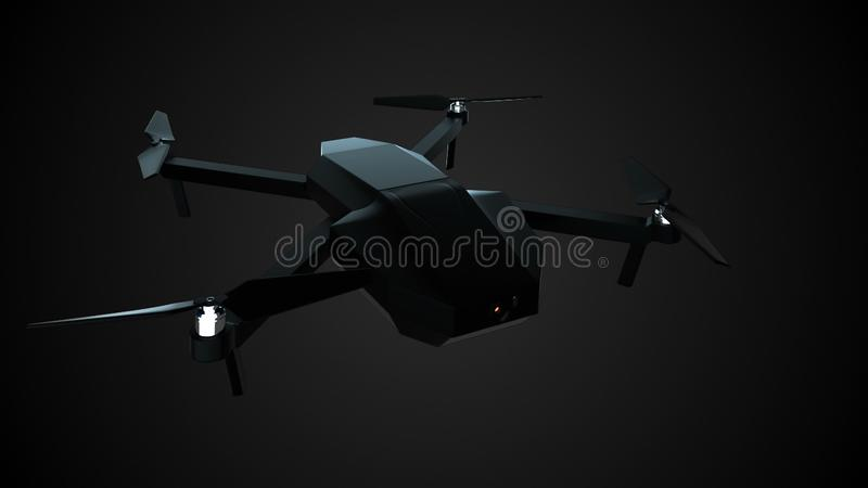 Modern shiny rising quadcopter, 3d render for technology, science showing, computer generated royalty free illustration