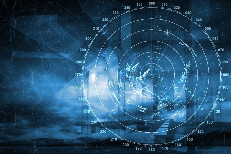 Modern ship radar digital screen, abstract backgro stock illustration