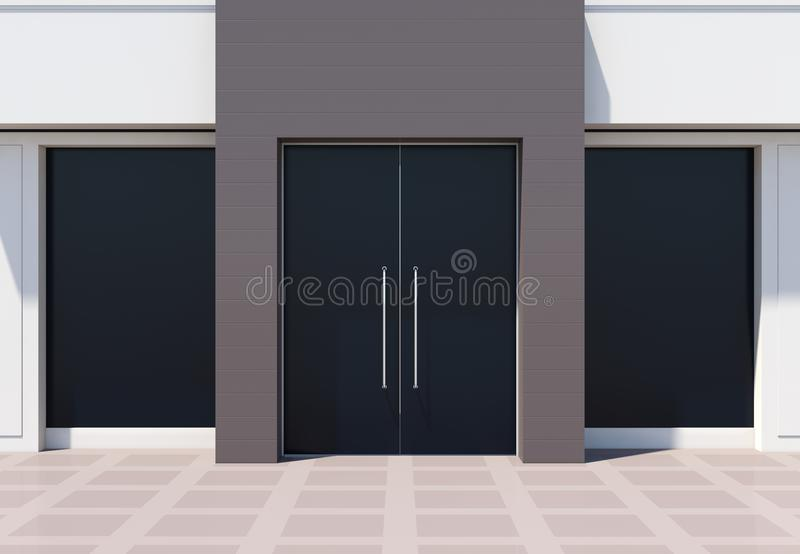 Modern shopfront with large doors and windows. White store facade 3D rendering vector illustration