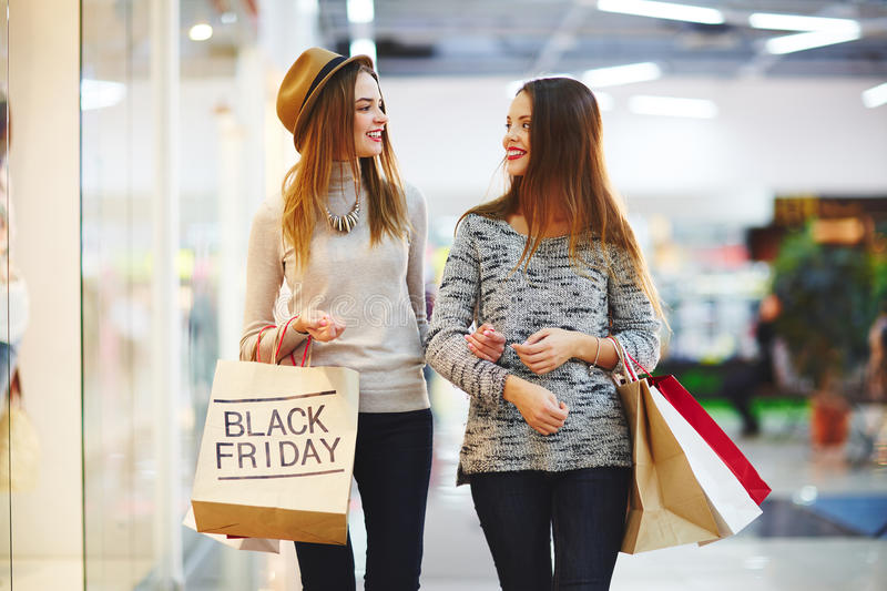 Modern shoppers stock photo