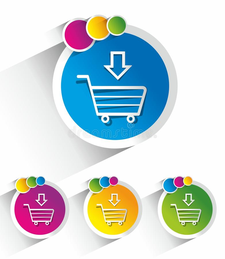 Modern Shopping Cart, Trolley Icons royalty free illustration