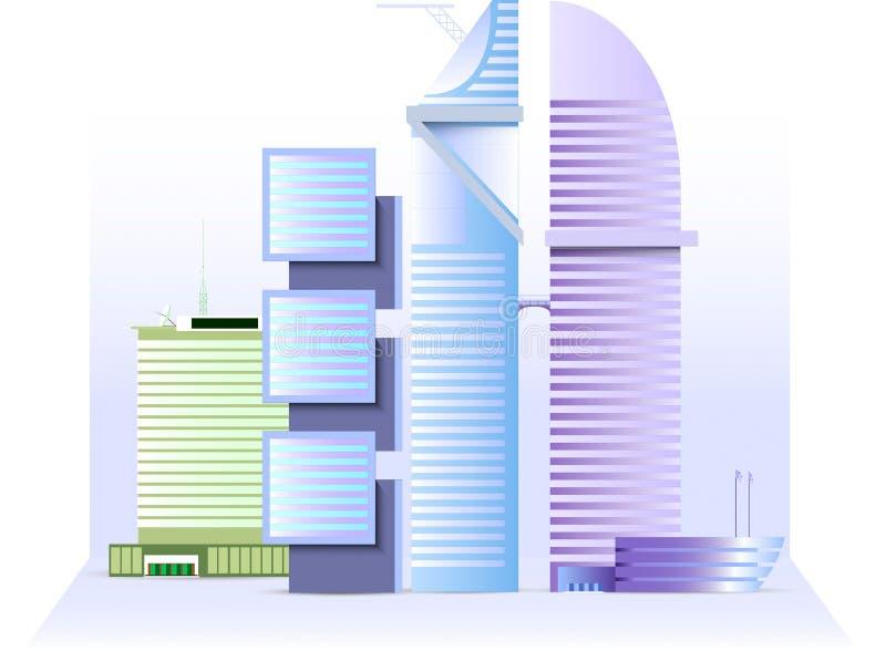 The modern shopping center (four buildings) stock photos