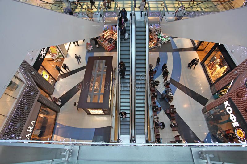 Modern shopping mall. Modern multi level shopping mall from above. Moscow, Russia, December 2014 royalty free stock images