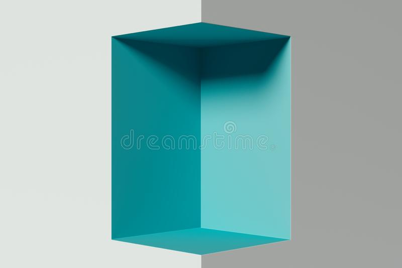 Modern Showcase aquamarine colour with deepening and empty space. 3d rendering. vector illustration