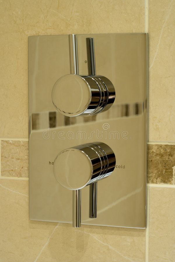 Modern shower controls royalty free stock image