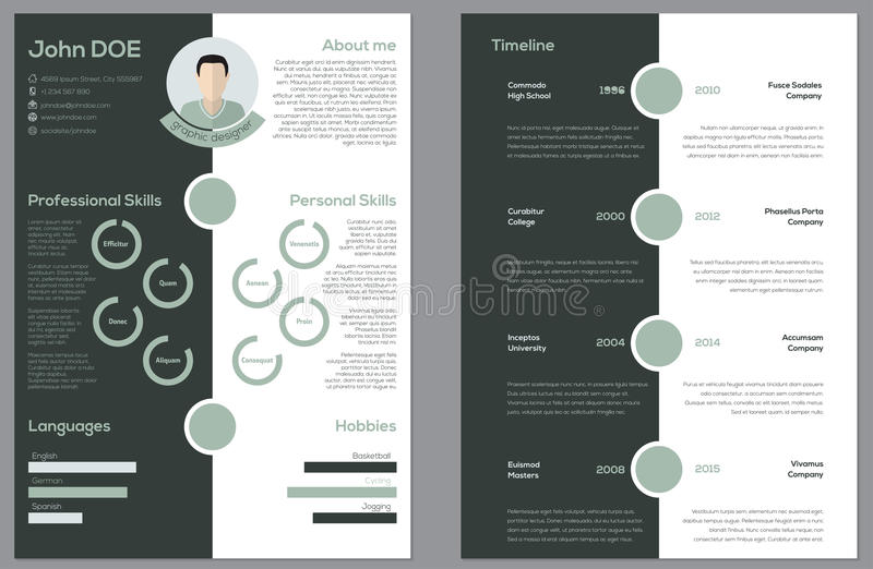 modern 2 sided cv resume stock vector  image of finance