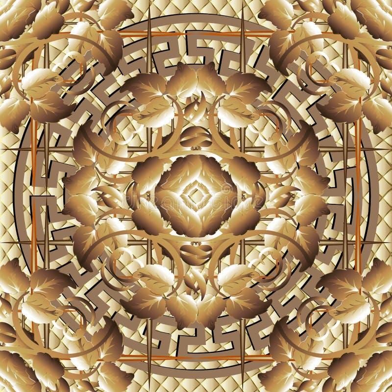 Modern sier uitstekend 3d Grieks vector naadloos patroon Geometrische geweven wafelachtergrond Gestreepte geruit herhaalt stock illustratie
