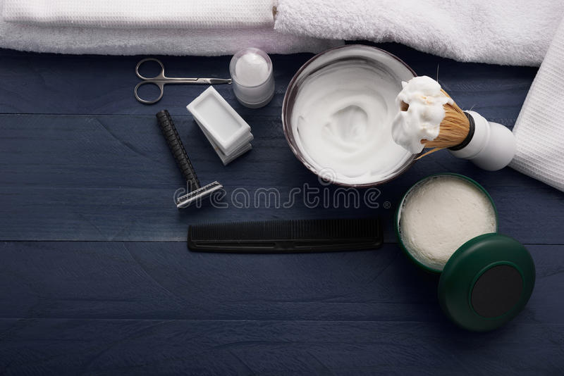 Modern sign for male barbershop. Sign for male barbershop on the table royalty free stock images