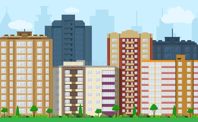 modern sikt för stad stock illustrationer