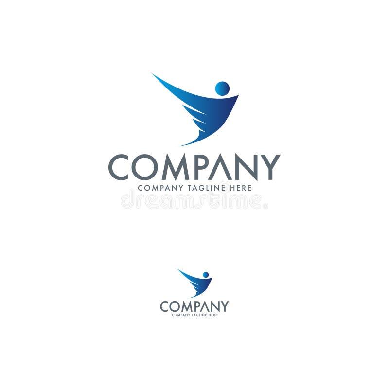 Modern Silhouet Logo Desing Het zilveren Embleem van Vleugels stock illustratie