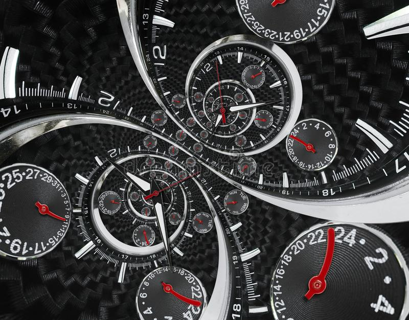 Modern silver black fashion clock watch red clock hands twisted to surreal time spiral. Surrealism clock black clock watch abstrac. T fractal background Stylish royalty free stock image