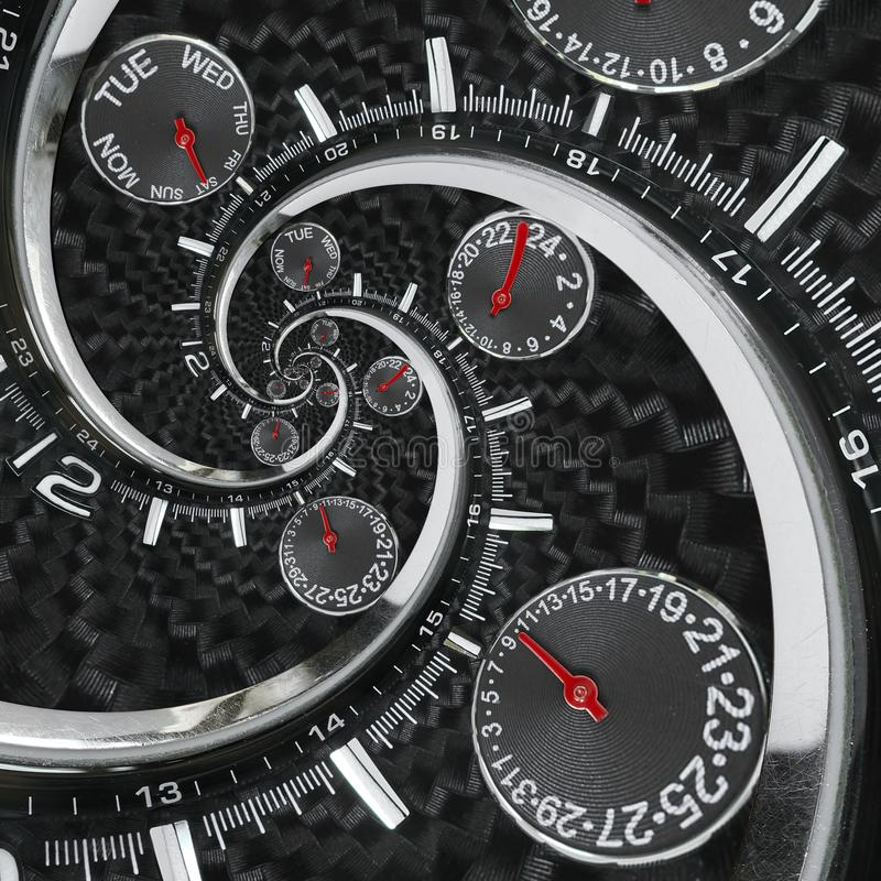 Modern silver black fashion clock watch red clock hands twisted to surreal time spiral. Surrealism clock black clock watch abstrac. T fractal background Stylish royalty free stock images