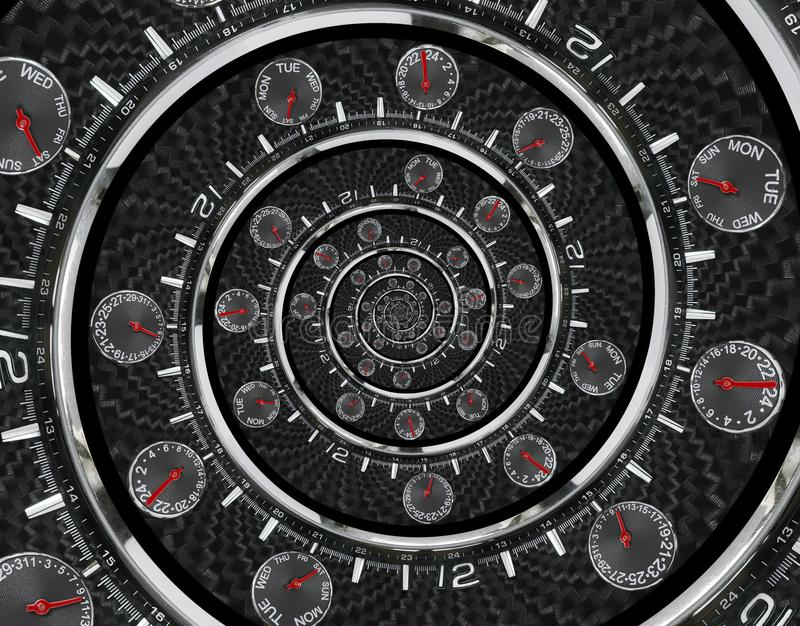 Modern silver black fashion clock watch red clock hands twisted to surreal time spiral. Surrealism clock black clock watch abstrac. T fractal background Stylish stock image