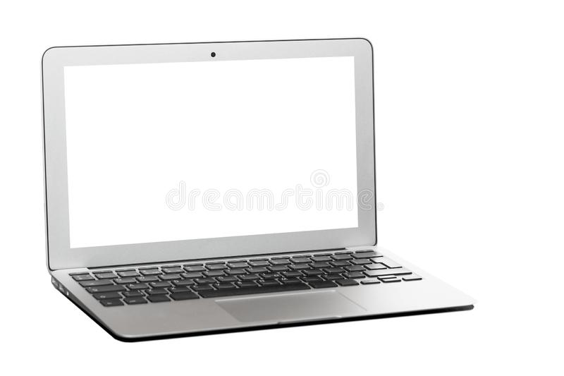 Modern silver laptop with blank screen isolated on white stock photography