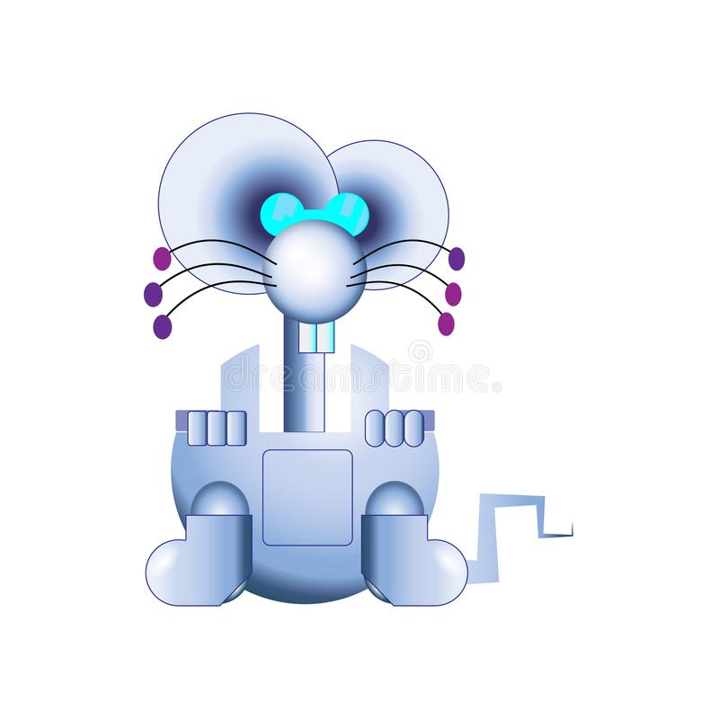 Modern silver robot mouse. Iron Cute friendly technology of the future. Icon vector. Cute bot. The technology design royalty free illustration