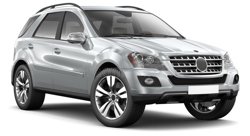 Modern silver suv car. Silver suv car on a white background stock illustration