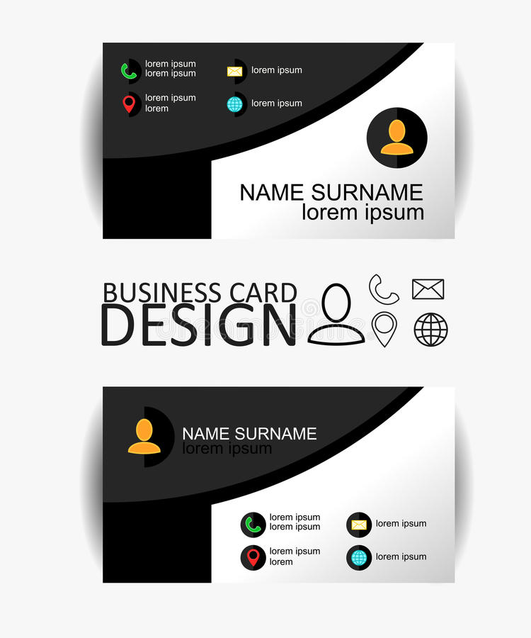 Modern simple business card template with flat user interface. Vector Design. Eps 10 vector illustration