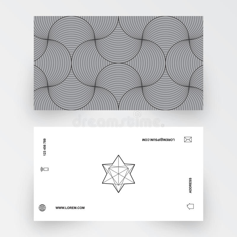 Modern simple business card template, geometric pattern royalty free illustration