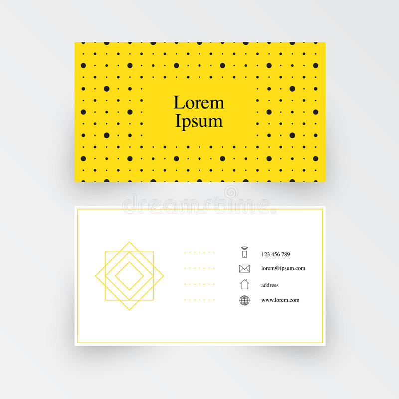 modern simple business card template geometric pattern yellow