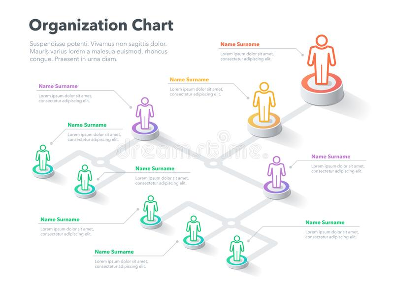 Modern simple company organization hierarchy chart template with place for your content royalty free illustration