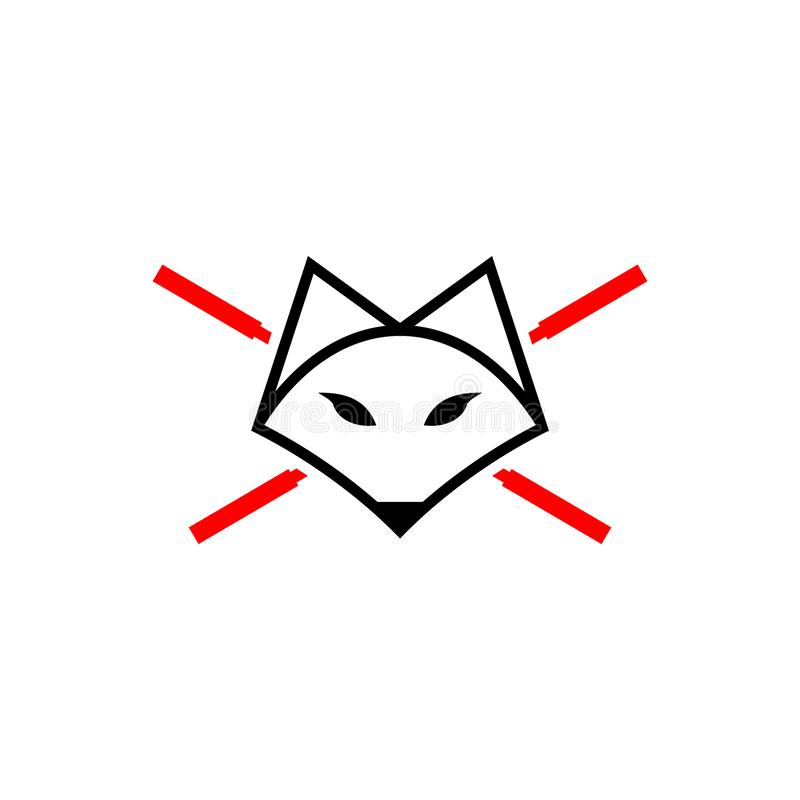 Modern and simple fox with empty barbell vector logo template vector illustration