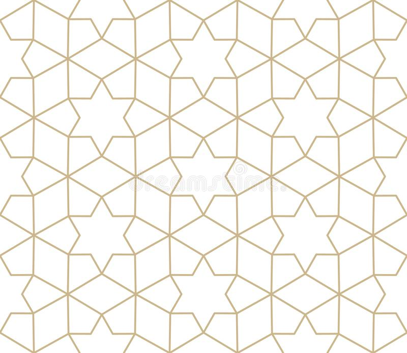 Modern simple geometric vector seamless pattern with gold flowers, line texture on white background. Light abstract stock illustration