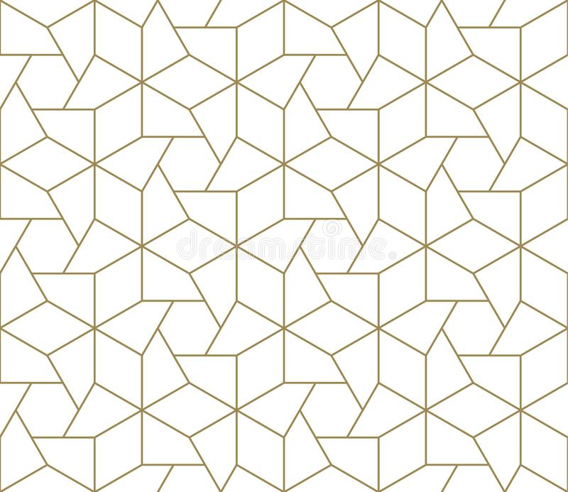 Modern simple geometric vector seamless pattern with gold line texture on white background. Light abstract wallpaper. Bright tile backdrop stock illustration