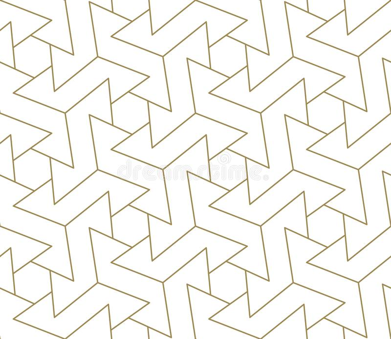 Modern simple geometric vector seamless pattern with gold line texture on white background. Light abstract wallpaper. Bright tile backdrop royalty free illustration