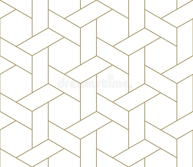 Modern simple geometric vector seamless pattern with gold line texture on white background. Light abstract wallpaper. Bright tile backdrop