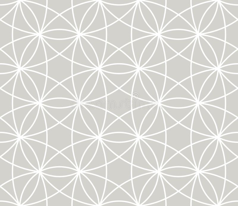 Modern simple geometric vector seamless pattern with white line texture on grey background. Light gray abstract linear vector illustration
