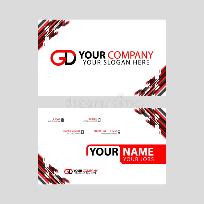 Modern simple horizontal design business cards. with GD Logo inside and transparent red black color. Something like Modern simple horizontal design business stock illustration