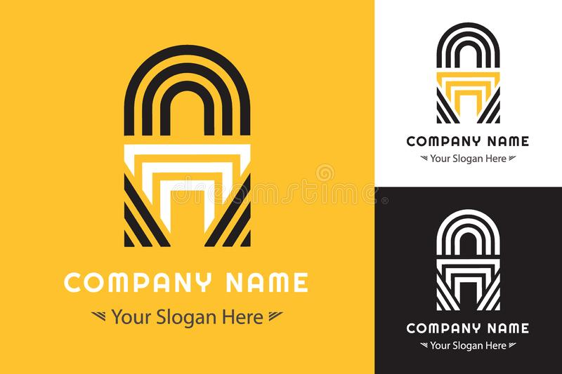 Modern Simple logo forming the letter A for Corporate Identity stock illustration