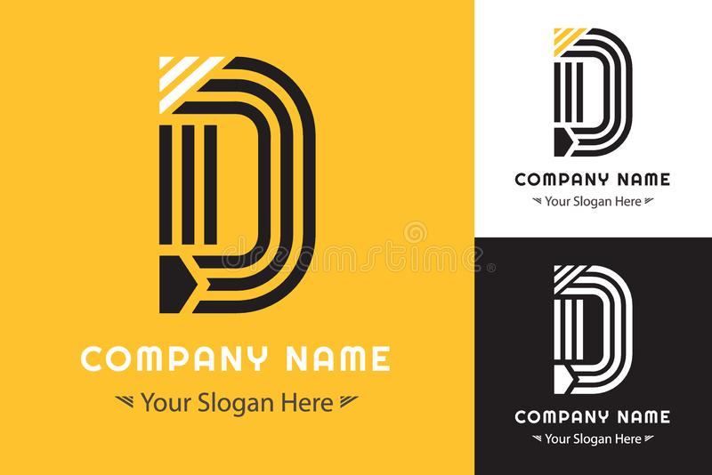 Modern Simple logo forming the letter D for Corporate Identity stock illustration