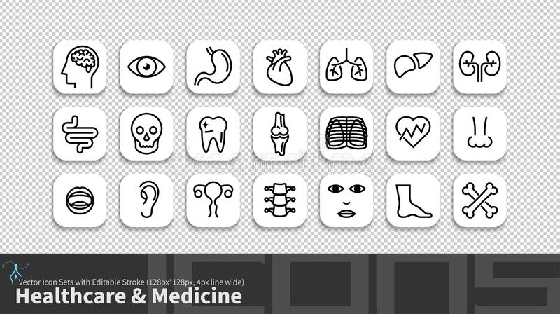 Modern simplicity line icon set with editable stroke. Healthcare & Medicine pack stock illustration