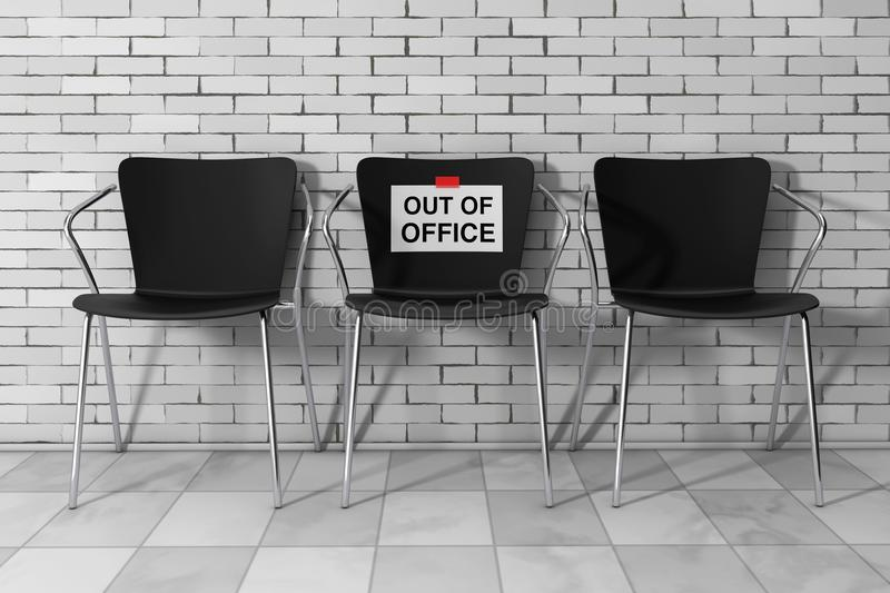 Modern Simpne Office Chairs One with Out of Office Sign. 3d Rend vector illustration