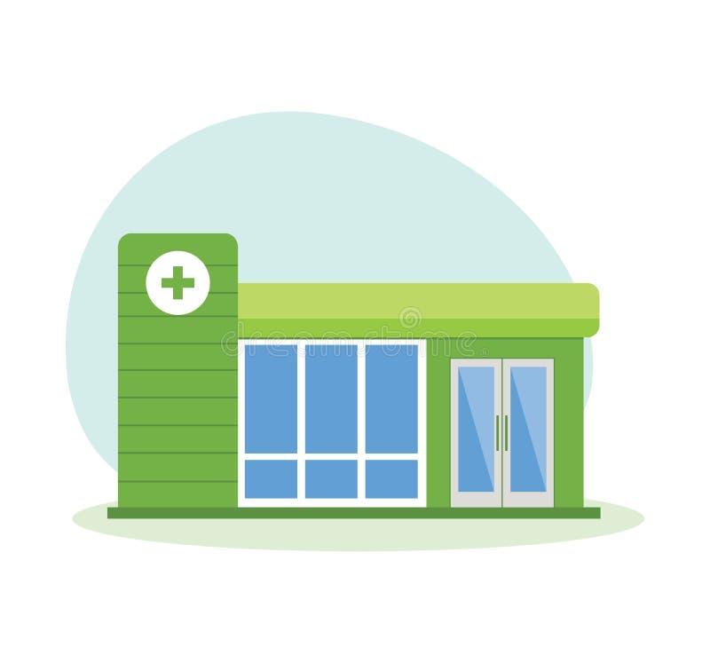 Modern sjukhusbyggnad, vårdsystem, medicinsk lätthet med alla avdelningar stock illustrationer