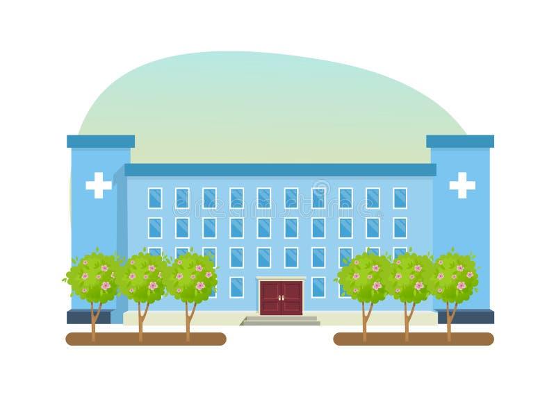 Modern sjukhusbyggnad, vårdsystem, medicinsk lätthet med alla avdelningar vektor illustrationer